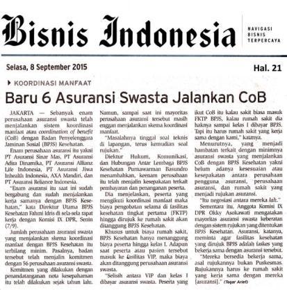 Bisnis Indonesia - Allianz dan CoB BPJS Kesehatan